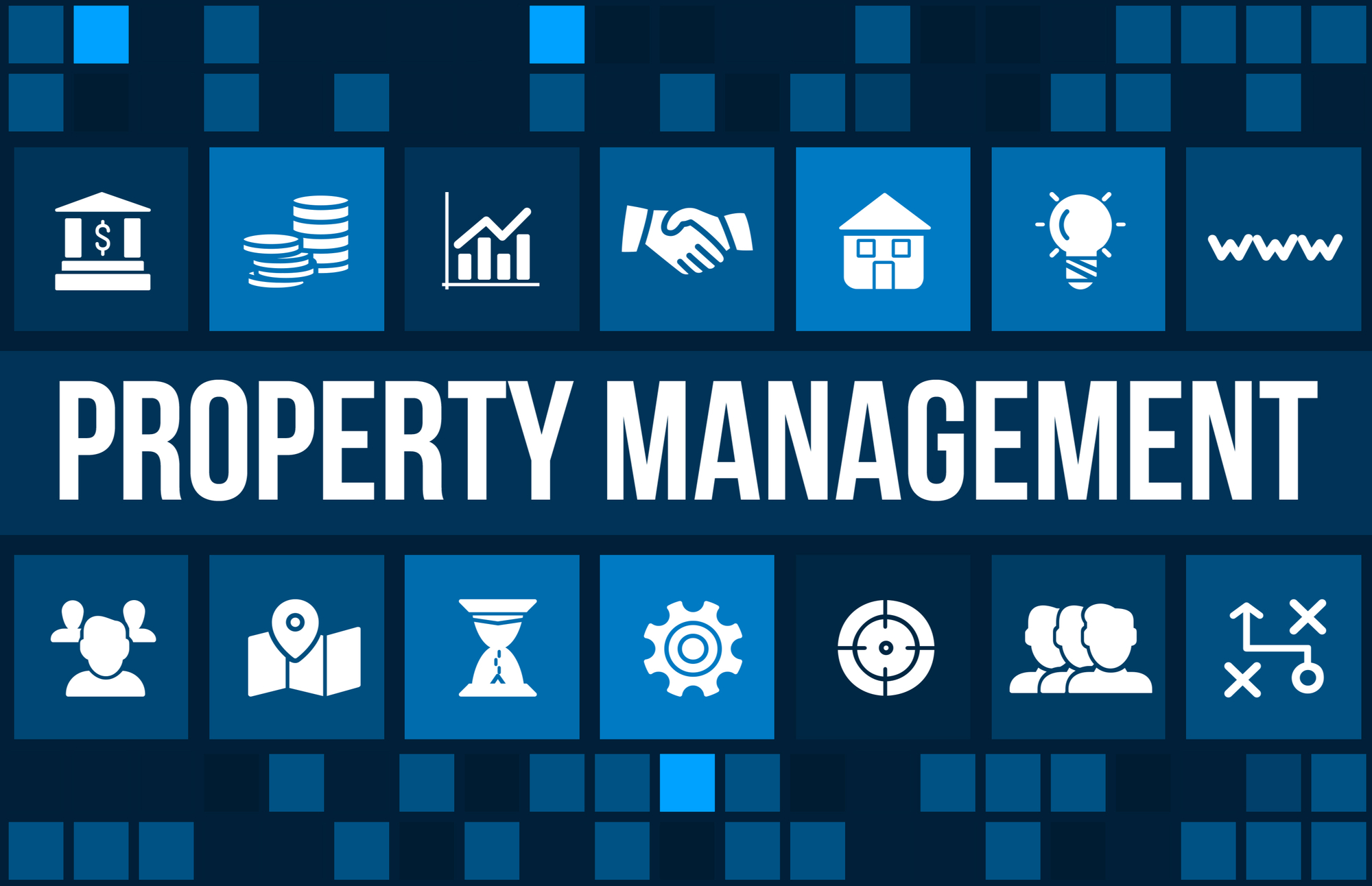 Property Management concept image with business icons and copyspace